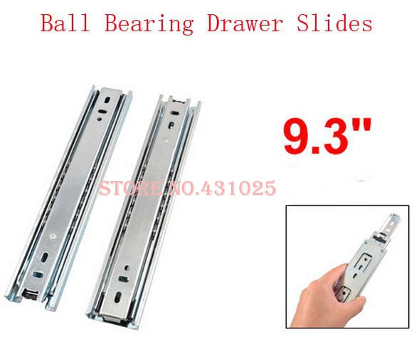 "9.3"" Full Extension Ball Bearing Telescopic Drawer Slides Slide Rails Pair(China (Mainland))"