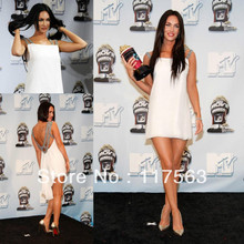 Megan Fox 2008 MTV Movie Awards Press Room sexy accented white beadd chiffon short mini celebrity dress CD026(China (Mainland))
