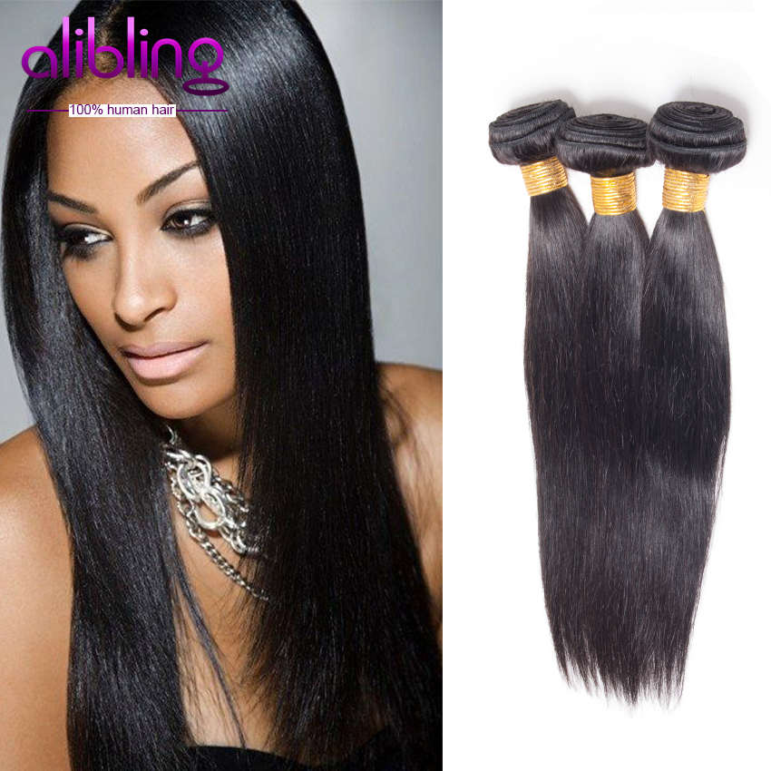 Promotion 7A Indian Straight Hair Weaves,Natural Black Human Hair Cheap Unprocessed Hair Bundles Indian Virgin Hair Straight(China (Mainland))