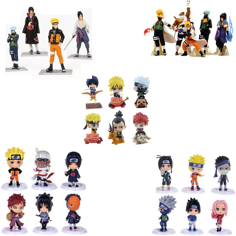 HOT Anime Naruto Set 4/5/Action Figures PVC Dolls Collection Kakashi Uzumaki Itachi - Toyben Mall store