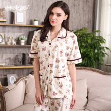 Summer Women Pajama Sets Character Cotton Pajamas Turn-down Collar Lounge Sleep Pyjamas Short Sleeve Sleepwear Casual Homewear