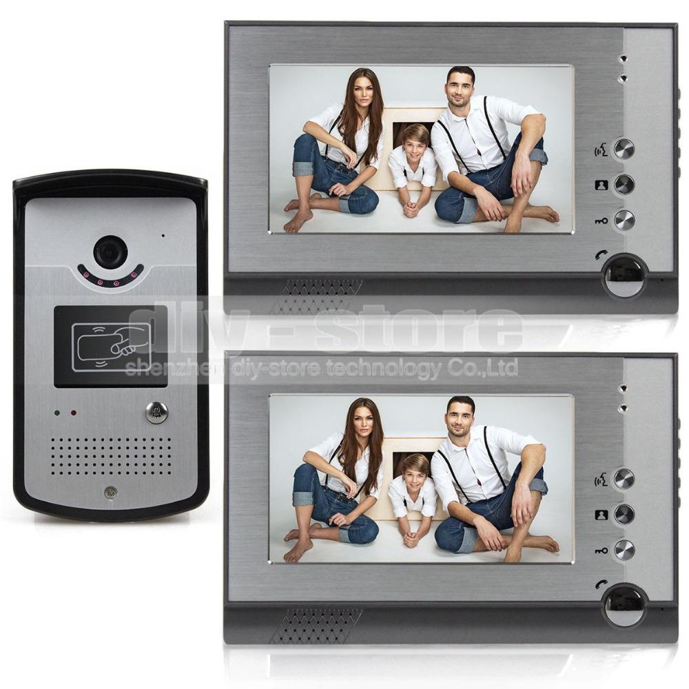 7 inch Handfree Color LCD Display Video Door Phone Enter Intercom Doorbell Card Key Reader RFID IR Night Vision Camera 805MEID12(China (Mainland))