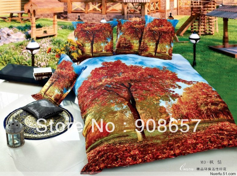 oil painting orange red mapl tree prints cotton bed linen discount bedding set cheap quilt/duvet covers for full/queen comforter(China (Mainland))