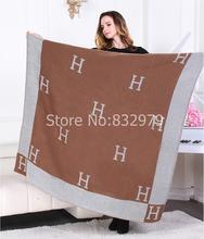 2016 vente chaude dame femmes 130 * 155 cm marque H cachemire créateur de couverture canapé voiture de couverture couverture couverture d'hiver châle(China (Mainland))