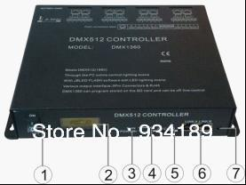 Free shipping DMX RGB CONTROLLER , MASTER CONTROLLER, SD CARD CONTROL&REMOTE CONTOL 8 Channels Input AC110-240V 220V DMX1360(China (Mainland))