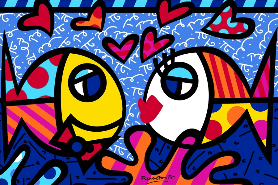 Romero Britto Paintings Fish DEEP LOVE Posters Custom Canvas Art Kids Wallpapers Romero Britto Stickers RB Home Decor #PN#2408#(China (Mainland))