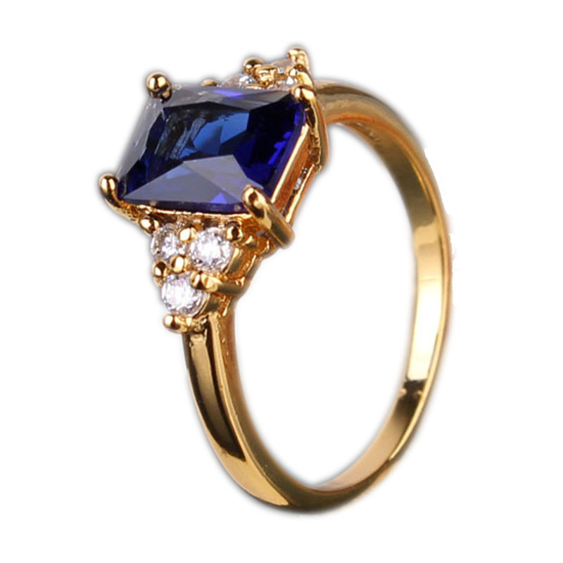 Fashion Party Ring 24K Yellow Gold Plated Ring Sapphire Royal Blue Big Stone Crystal Zirconia CZ Engagement Rings For Women R096(China (Mainland))