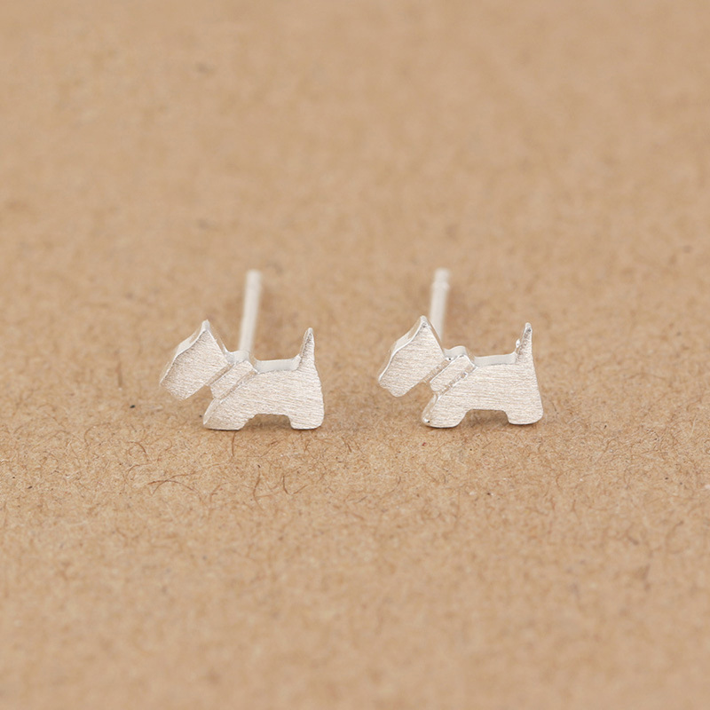 100% 925 Sterling Silver Women's Jewelry Fashion Cute Tiny Dog Stud Earrings Gift For School Girls Kids Lady DS376(China (Mainland))