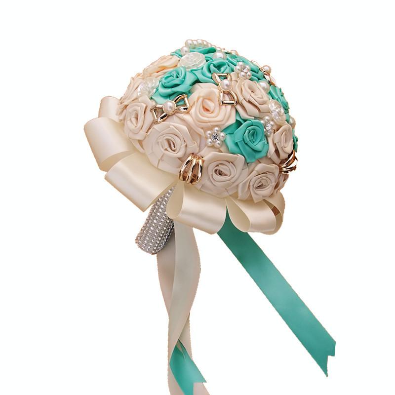 Luxury Flower Fashion Weding supplies Pearl Diamond Bridge  Article flower Holding flowers Weding decoration  20cm Green/ white