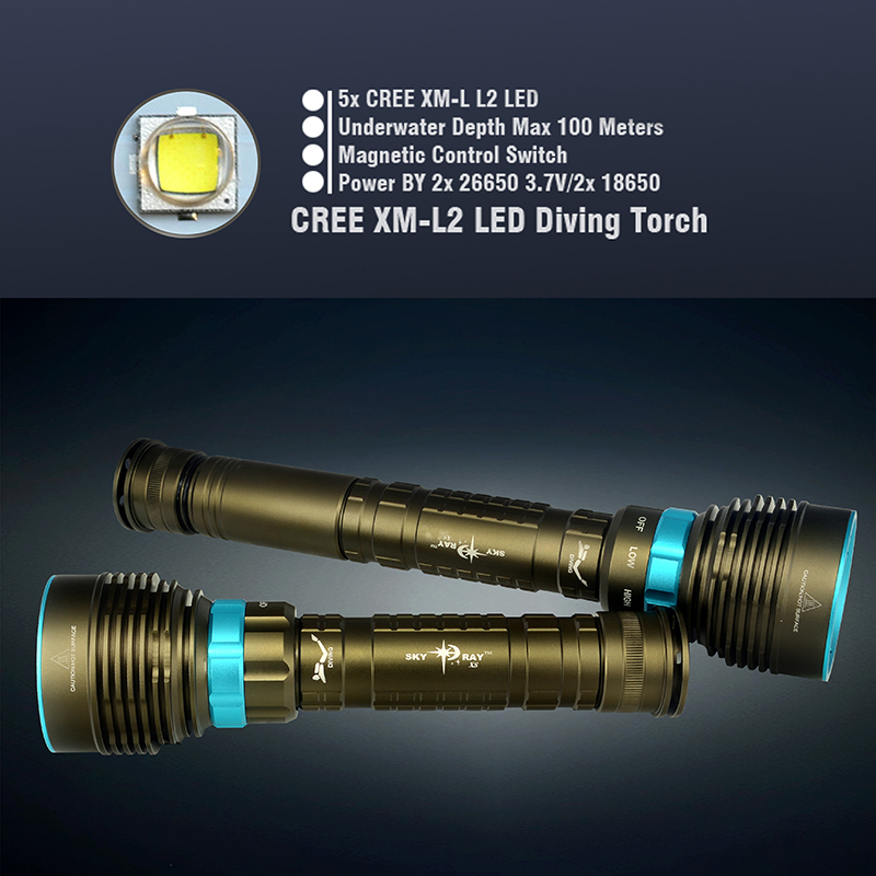 Waterproof CREE XM-L2 9000Lm LED Diving Flashlight Underwater Lamp Torch + 3pcs 26650 Battery + Charger