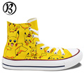 Mens Womens Anime Shoes Pokemon Pikachu Painted Shoes Custom Shoes Christmas Gifts Birthday Gifts Yellow Canvas