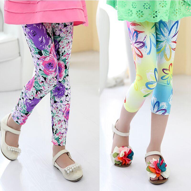 New Arrive 2015 Flower Girls Leggings Children's Clothing Printing Girl Pants Toddler Classic Legging 2-9Y Baby Kids Leggings(China (Mainland))