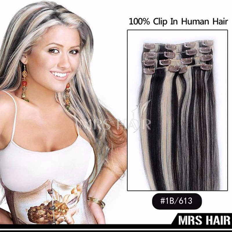Piano Clip In Human Hair Extensions 18#/613# Gray Blonde Mix Light Blonde Indian Human Hair 7pcs/set Hair Clip In Extensions