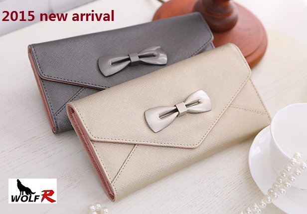 2015 Hot Sale High Quality Colorful bowknot pendant PU Leather Long Design Women Wallet Coin Purse Ladies Handbag Day Clutch Bag(China (Mainland))