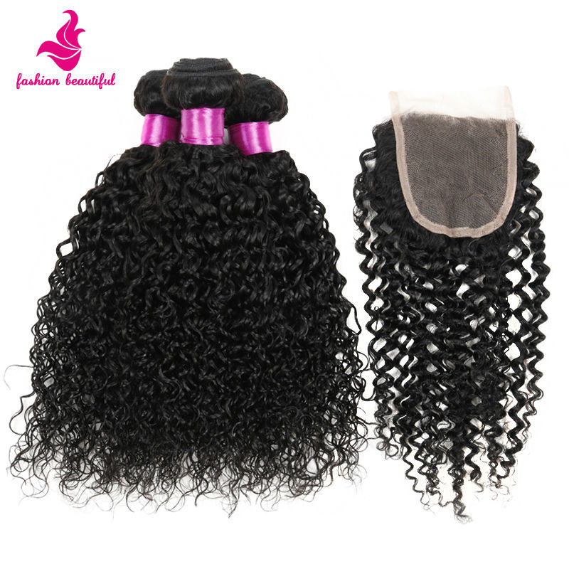 Vip Beauty Hair Malaysian Curly With Closure 7A Cheap Unprocesssed Human Hair Kinky Curly Bundles With Closure 4 Pcs lot  100g