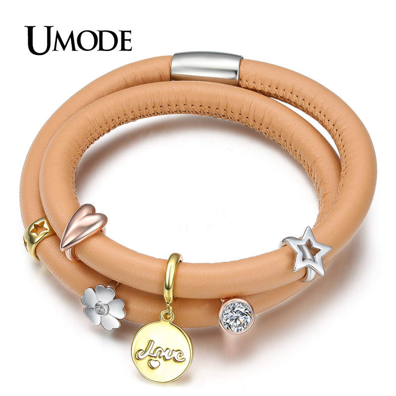 UMODE Gift Jewelry for Her 2 Layered Camel Real Leather Star Love Medal and Cubic Zirconia Charms Set DIY Charm Bracelet UB2016(China (Mainland))