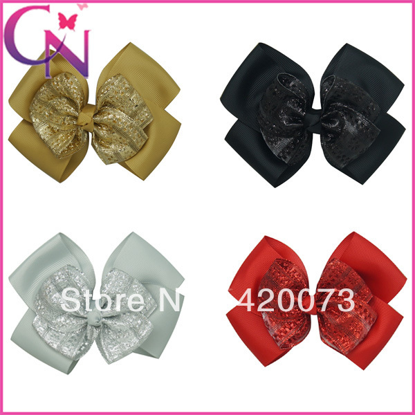 """30 pieces/lot 5.5"""" jacquard ribbon hair bow glitter hair bow two layers hair clips for baby girls CNH-1309243(China (Mainland))"""