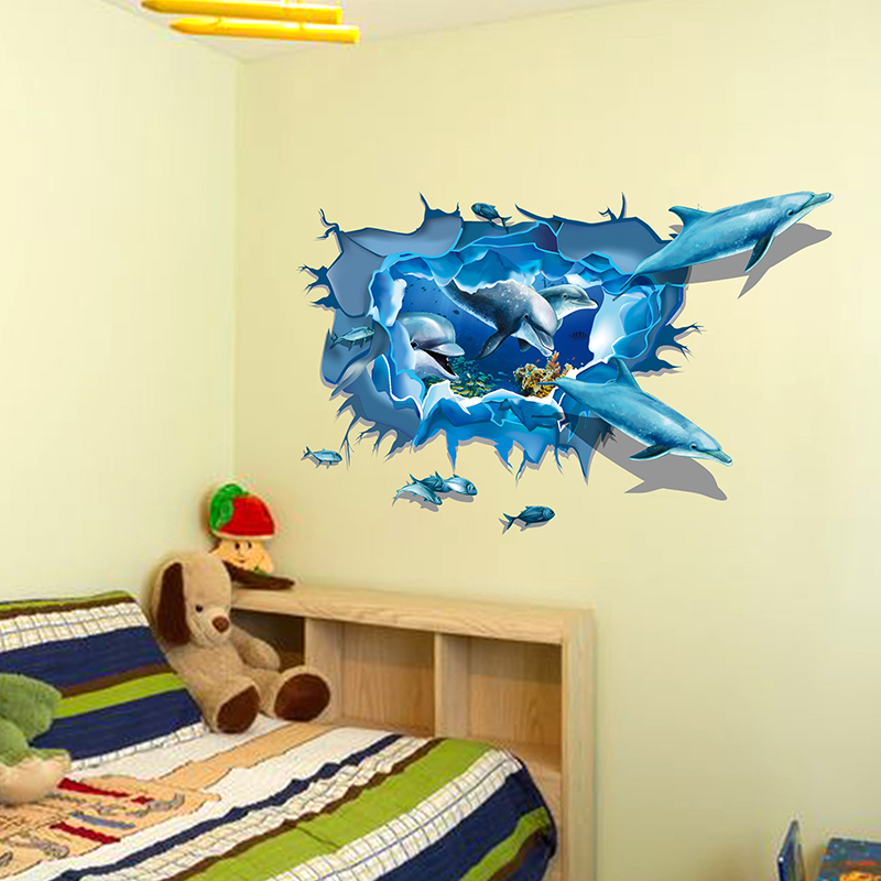Sea aquarium dolphin 3d wall stickers creative wall poster - Poster wanddurchbruch ...