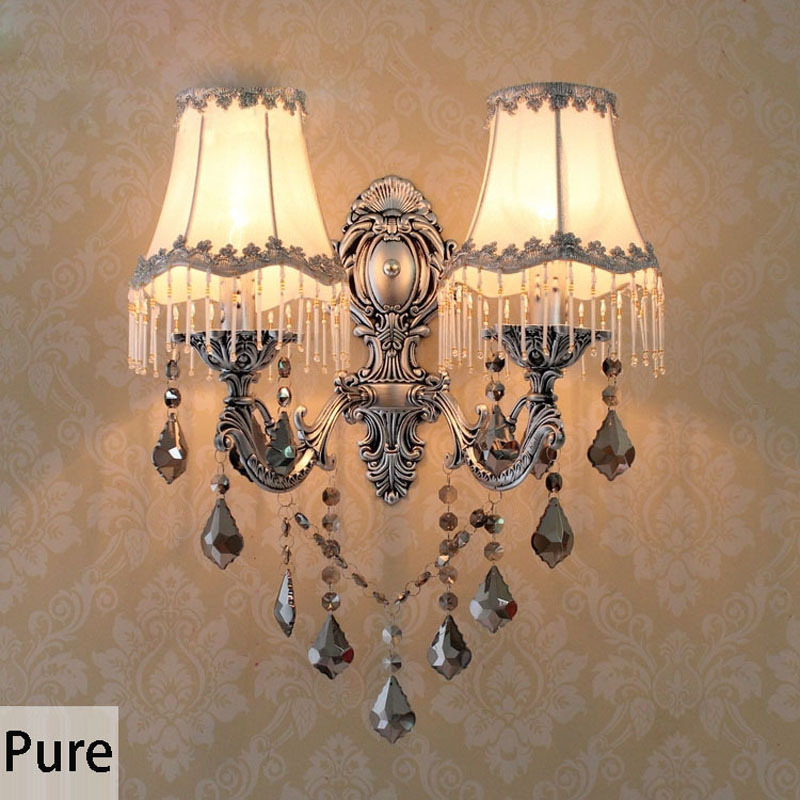 European Vintage Alloy Crystal Fabric Corridor Wall Lights Bedroom Gallery Balcony Wall Lighting Fixtures with Fabric Lampshade<br><br>Aliexpress