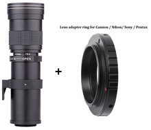 Buy 420-800mm F/8.3-16 Super Telephoto Manual Zoom Lens+T2 Adapter ring Canon EOS Nikon Sony Pentax DSLR Cameras for $90.99 in AliExpress store