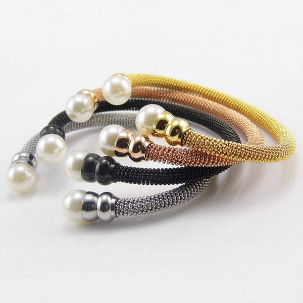 2016 Fashion Charm Jewelry Simulated Pearl Bangles for Women Stainless Steel Adjustable Open Bangle 4 Colors Bracelet Female(China (Mainland))