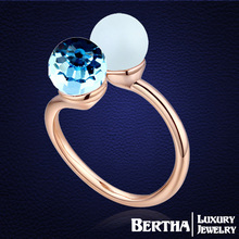 Exquisite Finger Ring Genuine With Swarovski Elements Austrian Pearl Crystal Unique Rings For Women Anillos Mujer Gift