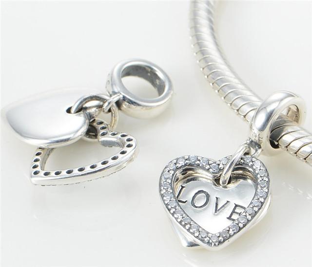 Бусины стерлингового серебра 925 CZ камни теплоты любовь мотаться для женщин DIY приспосабливать европейский браслеты и ожерелье