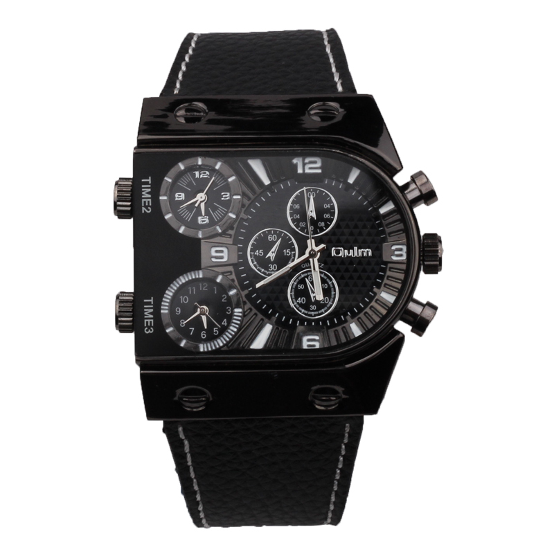 OULM BEST SELLING Men's Military Quartz Wristwatch Leather Strap Quality Japan 3 Time Zone Movement Black Square Case + Box(China (Mainland))