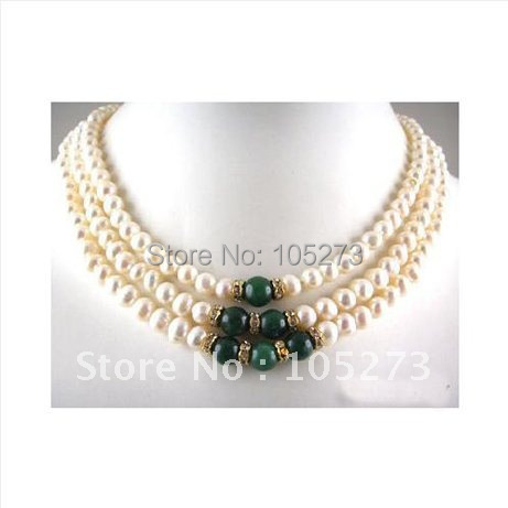 Pearl Jewelry 3Rows Real White Freshwater Pearl Green Jade Crystal Necklace AA7-8MM 18'-20inch Fashion Jewelry New Free Shipping