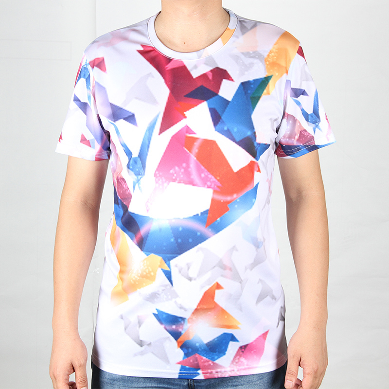 Creative Paper Crane 3D Men T-shirt Round Neck Wolf Animal t shirts Short Sleeve Pattern Print House of Cards Male t-shirts(China (Mainland))