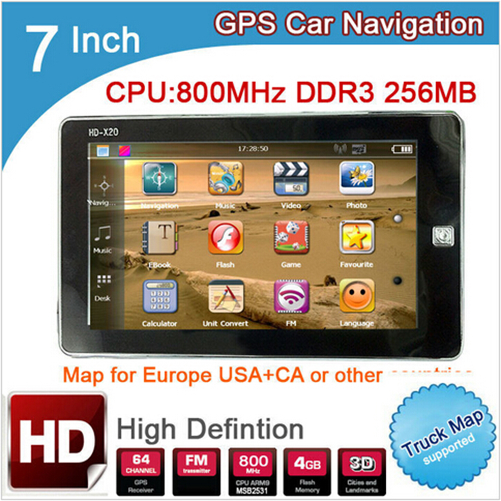 New 7 inch HD Car GPS Navigation 800MHZ FM/8GB/DDR3 256M 2016 Europe Maps for Russia/Belarus/Kazakhstan Europe/USA+Canada TRUCK(China (Mainland))