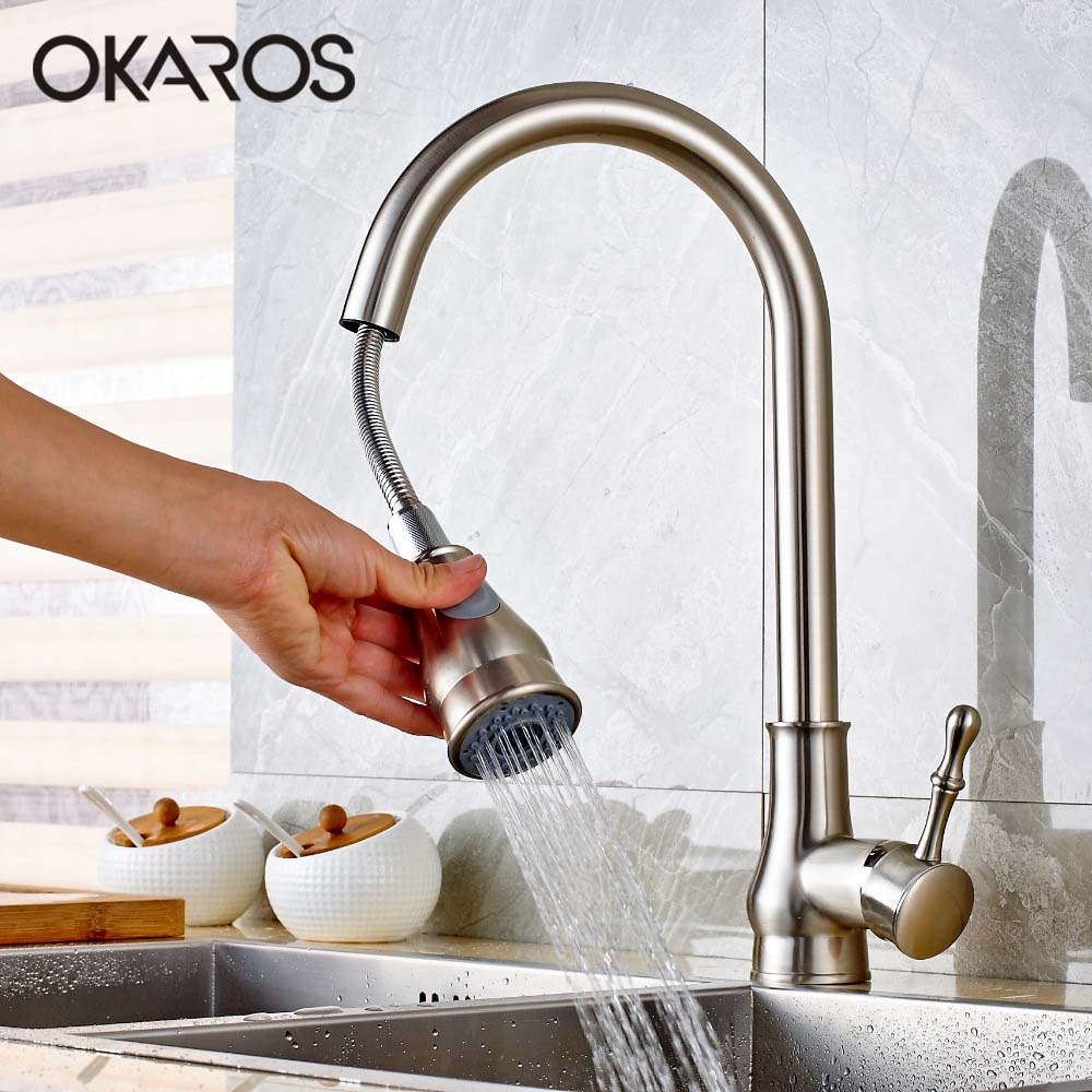 OKAROS Kitchen Sink Faucet Pull Down up Nickle Brush Chrome Finish Double Sprayer 360 Degree Rotation Vessel Hot Cold Water Tap(China (Mainland))
