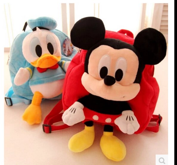 Best Quality 1pcs 28*26cm Mickey And Minnie Bag Children's Nursery School lovely bag Plush Backpack Plush Toys Free Shipping(China (Mainland))