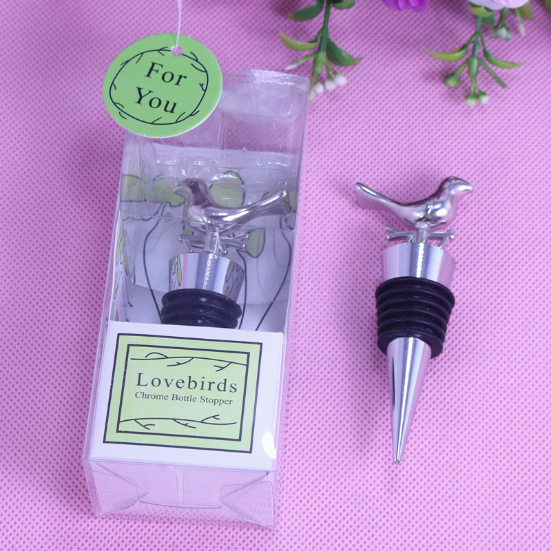 5PCS Love Bird Wine Stoppers event party supplies bridal shower decoration gift Souvenirs for Wedding Baby Shower and Guests(China (Mainland))