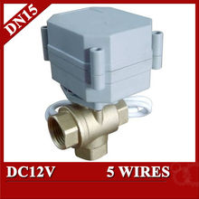 1/2 inch DC12V BRASS 3 way T port Motorized ball valve, electric valve 5 wires(CR501), Miniature - TF Fluid Control Systems Co.,Ltd store
