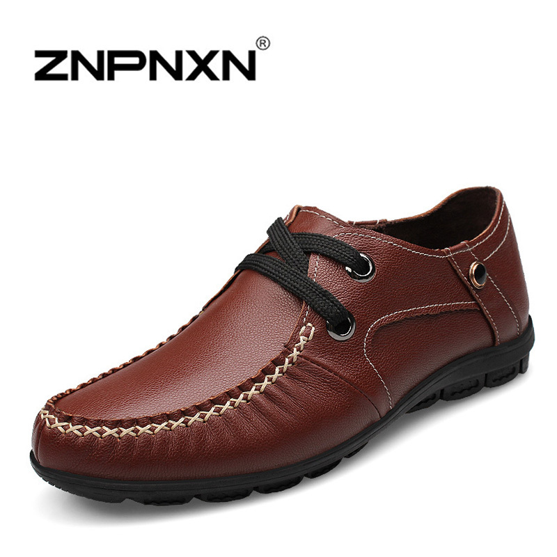 Фотография [ZNPNXNShoes] New 2015 Men Genuine Leather Shoes Handmade Britain Style Lace Up Rubber Men Flats Chaussure Homme