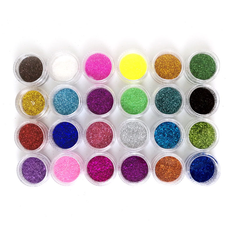 24 Colors Nail Art Decorations Acrylic Glitters Powders For UV Nail Gel Polish Nail Tips Beauty Accessories ZJ1364(China (Mainland))