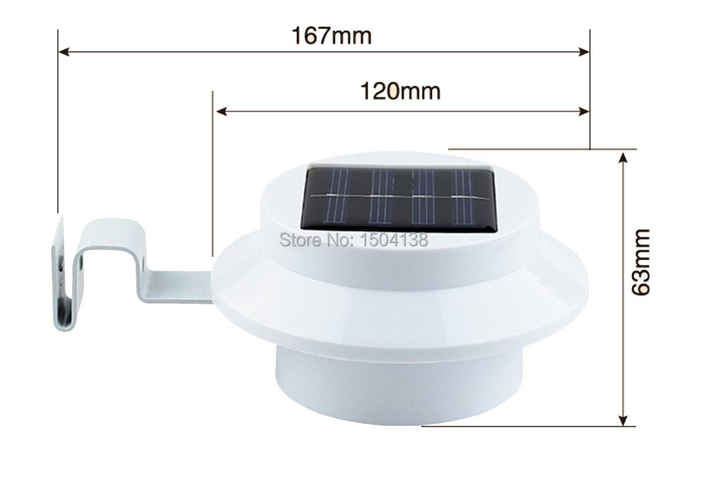 Solar Powered Fence Gutter 4 LED Light Outdoor Garden Yard Wall Pathway street light Lamp Free Shipping