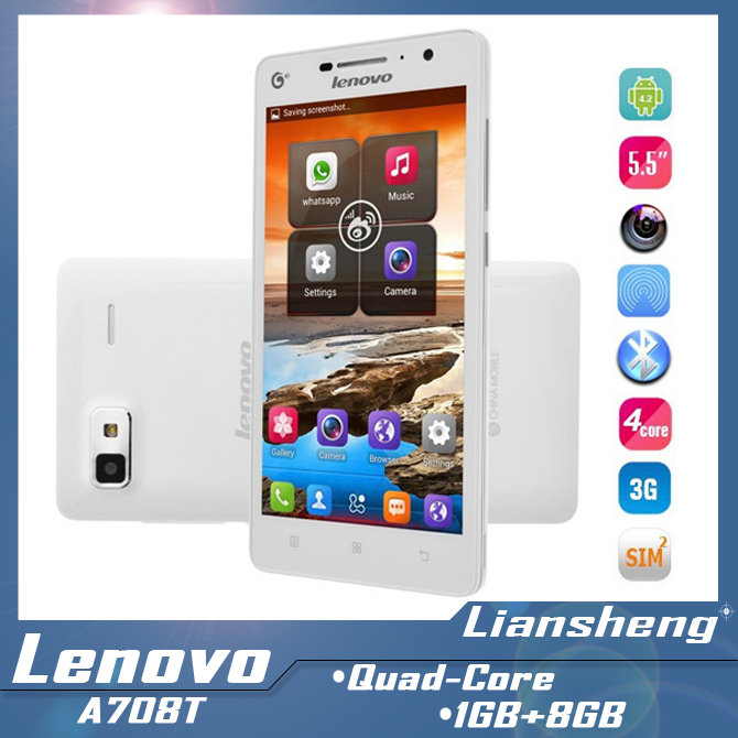 Original lenovo A708t 1GB RAM 8GB ROM Quad Core MTK6582 1.3G Brand New 5MP Android cell phone wifi GPS(China (Mainland))