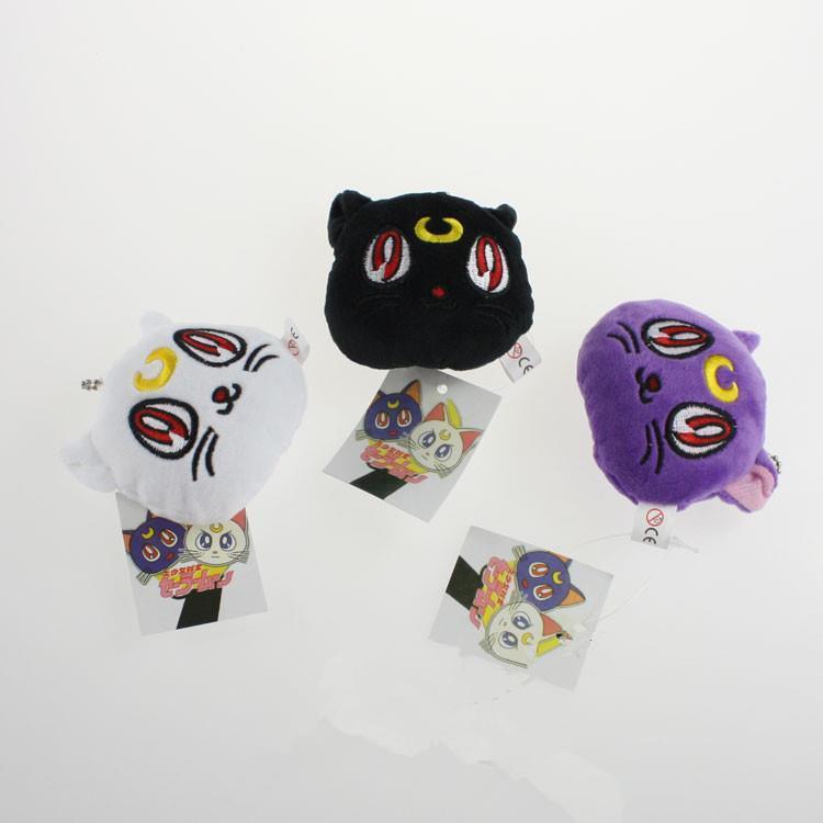 EMS 300pcs SaIlor Moon Plush Toys Luna Cat Artemis Cat 7cm Plush Keychains Pendants With Tag<br><br>Aliexpress