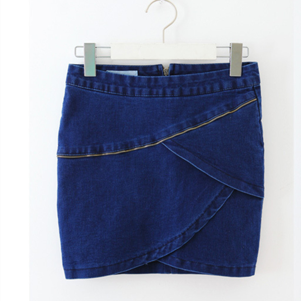 New fashion denim piston women skirt package hip pencil skirt zipper decoration sexy distinctive font b