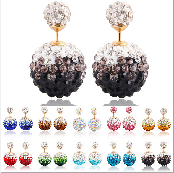 Newest Flower Double Ball Christmas Earrings For Women Luxury Crystal Earrings women fashion Stud Earrings(China (Mainland))