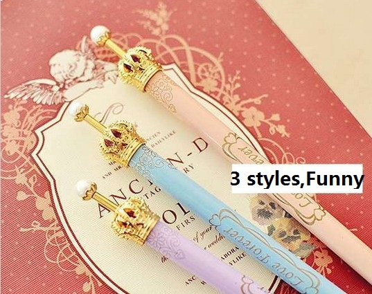 New cute princess crown ball pen / Fashion ballpoint pens Kawaii Stationery Novelty favor gift zakka Office supplies school(China (Mainland))