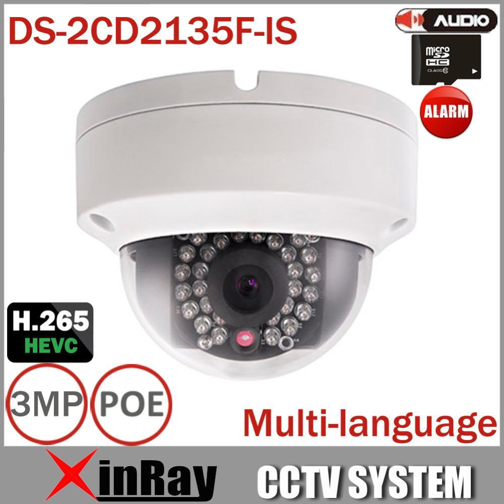 New Arrival V5.3.6 DS-2CD2135F-IS Replace DS-2CD2132F-IS DS-2CD3132-I 1080P Audio Alarm I/O POE IP camera TF Card Slot(China (Mainland))