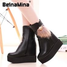 Tamaño 30-50 mujeres cuña media short boot plataforma nieve cálida piel de invierno caliente mitad de la pantorrilla botas moda de calidad calzado zapatos P22121(China (Mainland))