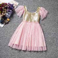 Free shipping,lovely color sequnins ruffles short sleeve Flower Girl Dresses children  infantis clothing costume 2-7 age
