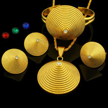 Ethiopian Jewelry sets 24K Gold Plated Crystal Necklace/Earring/Pendant/Bangle/Ring Middle Easter/India Habesha Wedding sets(China (Mainland))