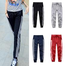 Womens Basics Sport Pants Three Vertical Stripe Jogging Slacks Ladies Girls Sweat Pants HB88(China (Mainland))
