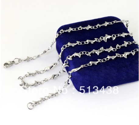 Free ship!20pcs lot 19.6'' Sweet girls jewelry silver Stainless Steel 6mm charming Dolphen chain necelace Bulk purchase(China (Mainland))