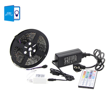 Buy 5M Waterproof RGB LED Strip Light Flexible SMD 5050 rgb diode led tape + IR 44 Keys Remote Controller +12V 5A Power Adapter for $19.92 in AliExpress store